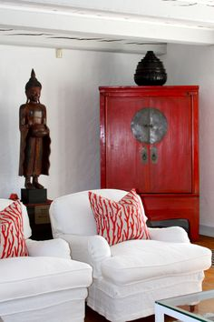 Red Wedding Cabinet -- like the red accent. Would work with black and gray, also