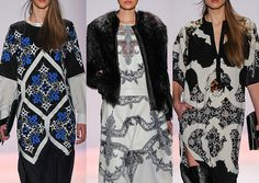 BCBG Max Azria A/W 2013-  Hand Painted Lace – Kaleidoscope Pattern build ups - Silhouette Henna Prints – High Contrast pattern – Linear Pattern plays