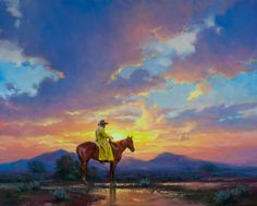 """Sunburn"" Western Cowboy and horse at beautiful sunset, oil painting by Jack Sorenson- my favorite artist"