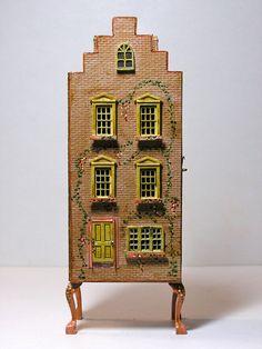 "Doll House Miniature 7"" Dollhouse Signed ""JN JN"" Complete w Tiny Furnishings | eBay"