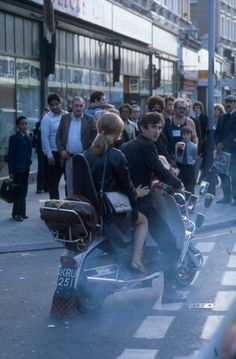 """""""Jimmy and Steph from Quadrophenia, on his Lambretta"""" Lambretta, Retro Scooter, Mod Look, Old Motorcycles, The Best Films, Skinhead, Mod Fashion, Pop Art, Men Casual"""