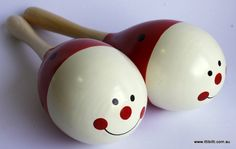 Toys Link - Wooden Maracas - Red