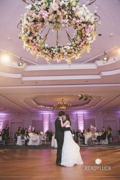 Pink and white Floral chandelier