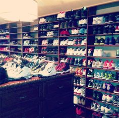 Shoe Room, Shoe Wall, Shoe Closet, Closet Space, Sneaker Collection, Shoe Collection, Jordan Shoes, Jordan Nike, Chris Paul Shoes
