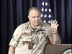 """Gen. Schwarzkopf's Famed News Conference~~ ****Published on Dec 29, 2012 When victory was obvious over Iraq after its invasion of Kuwait, General H. Norman Schwarzkopf gave what quickly became known as the """"Mother of All News Conferences"""" across the street from his HQ in Saudi Arabia."""