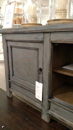 Pottery Barn Molucca Media Console Table Cabinet Buffet Sideboard Blue  Distressed Paint