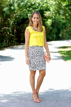 Cute work look with the bright yellow top and animal print pencil skirt.