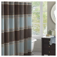 Bradley Striped Jacquard Shower Curtain Brown Blue