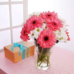 gerber daisy and hydrangea floral arrangements | ... Flowers >>> Find Love and warmth in Pink Flowers | Free Wedding Flower