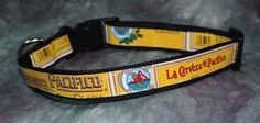 Adjustable Dog Collar from recycled Pacifico Beer Labels by squigglechick on Etsy