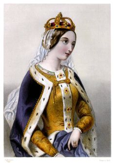 """Catherine d'Valois, daughter of King Charles IV """"The Mad"""" of France and Queen Isabelle of Bavaria. Sister of Isabelle d'Valois, Queen of England as Richard II's consort. Queen of King Henry V. Widowed at 18, remarried Owen Tudor, and founded House Tudor."""