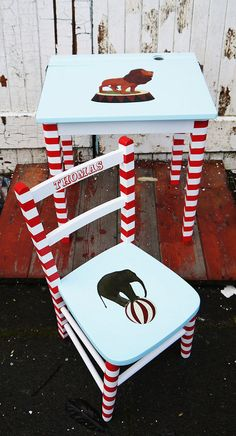 Upcycled vintage children's school desk and chair sets made to order circus theme by Emily Rose Vintage www.emilyrosevintage.co.uk