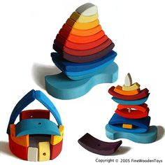 Large wooden stacking sailboat puzzle, Germany