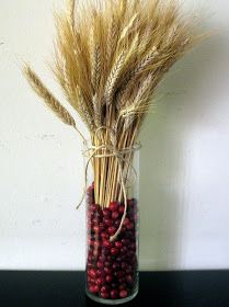 "Use cranberries in combo with a ""thankful tree"" for centerpiece"