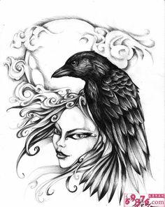 Evil Owl Tattoo Flash | 美女乌鸦黑白 纹身 手稿