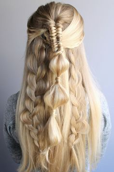 Half-up festival hairstyle with multiple braids
