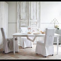Table de salle à manger à rallonges en bois blanche L 100 cm Louis | Maisons du Monde