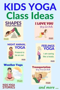 Looking for fun kids yoga class ideas? This collection of yoga ideas is for your home, classroom, or studio. Each theme has 5 books + 5 yoga poses for kids. Yoga For You, Yoga For Kids, My Yoga, Exercise For Kids, Preschool Yoga, Toddler Yoga, Animal Yoga, Kids Yoga Poses, Childrens Yoga