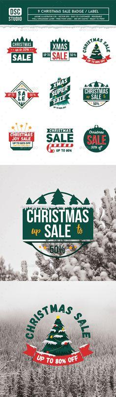 9 Christmas Sale Badge / Label Template Vector EPS, AI Illustrator