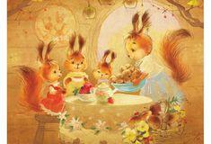 squirrels ' modern new unposted postcard by Ekaterina Babok Squirrel Illustration, Cute Animal Illustration, Illustration Art, Animal Knitting Patterns, Rabbit Art, Russian Art, Cartoon Art, Cute Drawings, Cute Art