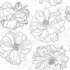 Main dessinée papier peint à fleurs Pourrait être utilisé comme fond d'écran transparent, le textile, le papier d'emballage ou d'arrière-plan