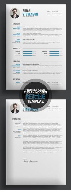 The Modern Resume Modern Resume Template  Cv Template  Cover Letter  Reference .