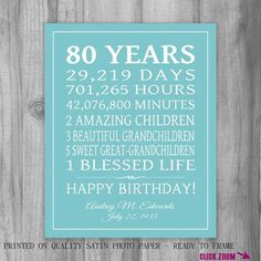 80th BIRTHDAY GIFT 80 Years Sign Personalized by PrintsbyChristine  sc 1 st  Pinterest & 80 Year Old Birthday Wood Sign... Can Be Customized To Any Age !!! A ...