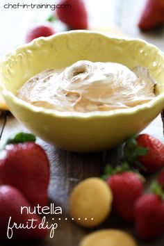Nutella Fruit Dip from chef-in-training.com …This recipe only requires 3 INGREDIENTS and is DELISH!