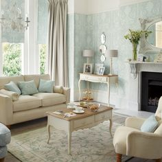 Ideas shabby chic wallpaper laura ashley duck eggs for 2019 Wallpaper Living Room, Blue Living Room, Living Room Color, Laura Ashley Living Room, Living Room Wallpaper Laura Ashley, House Interior, Cottage Living Rooms, Duck Egg Living Room, Home Furnishings