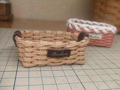 半端ひもで・ミニカゴの作り方(底フラット) - 手作り記録 Wicker Baskets, Decor, Decoration, Decorating, Woven Baskets, Deco