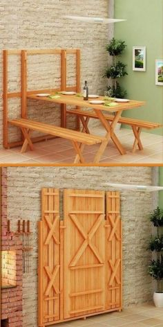 DIY Project: Fold Up Picnic Table. Maybe inside version for kids playroom. Good for crafts, then clear away for play space DIY Project: Fold Up Picnic Table. Maybe inside version for kids playroom. Good for crafts, then clear away for play space