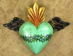Vintage Tin sacred heart Mexican wall art multicolored SPRING ...