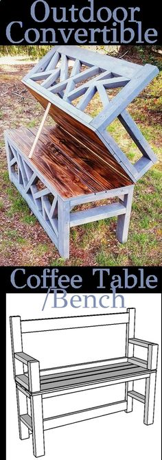 Plans of Woodworking Diy Projects - DIY Outdoor Bench Coffee Table - Convertible - Woodworking Plans #woodworkingdesign Get A Lifetime Of Project Ideas & Inspiration!