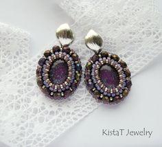 Bead embroidery earrings in purple, beaded stud earrings, beaded earrings, purple earrings, beaded jewelry, oval earrings by KistaTJewelry on Etsy