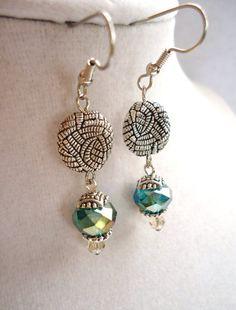 Teal Crystal Earrings #handmade