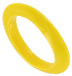"""Lucite Plastic Oval Bright Yellow Bangle Bracelet Made In Italy Italy. $14.95. Width: 1/2"""". Lucite Plastic. Interior Diameter: 2 5/8"""". Color: Yellow. Save 25% Off!"""