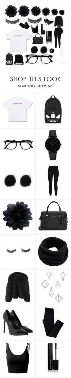"""""""Back To Black"""" by amelia-scholl ❤ liked on Polyvore featuring Topshop, CLUSE, Levi's, Kate Spade, Helmut Lang, Balenciaga, Umbra, Yves Saint Laurent, J Brand and Doublju"""
