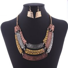 Stylish Alloy Retro Metal Three Layers Chain Jewelry Sets Ladies Necklace and Hook Earrings