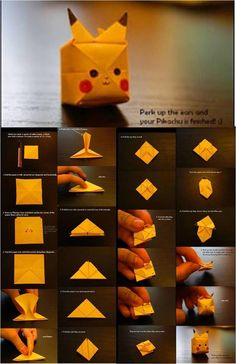 oh, pikachu ~ - DIY and crafts - Origami Diy Origami, Cute Origami, Paper Crafts Origami, Useful Origami, Origami Tutorial, Diy Paper, Origami Instructions, Diy Crafts Hacks, Diy Arts And Crafts