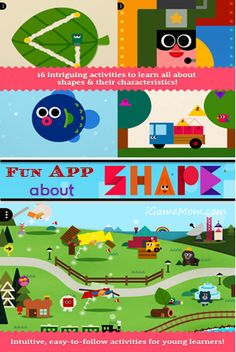 Shape learning app: Kids build villages with shapes. Kids learn math, as well as art and creativity. #kidsapps #MathApps #ArtApps