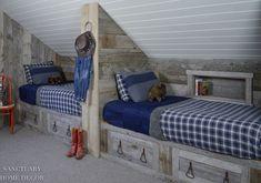 Attic Makeover: Design Ideas to Create a Kid's Bunk room - Sanctuary Home Decor Bunk Rooms, Attic Rooms, Attic Spaces, Attic Bathroom, Attic Bedroom Kids, Attic Renovation, Attic Remodel, Balkon Design, Bunk Bed Designs