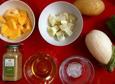 Puré de berenjena blanca con salchichas de tofu, receta de cocina ecológica, fácil y sana. Plato vegano. La receta paso a paso y video en: http://www.ecoingredientes.com/pure-de-berenjenas-blancas-con-salchichas-de-tofu/