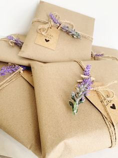 """All of our cards and hand wrapped with Kraft Brown paper, twine, faux lavender sprig, mini clothes pin and """"made with love"""" hangtag. Vintage Packaging, Gift Packaging, Packaging Ideas, Creative Gift Wrapping, Creative Gifts, Brown Paper Wrapping, Gift Wraping, Birthday Gifts For Best Friend, Brown Paper Packages"""