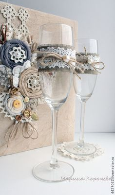 Lace Toasting Flutes, Pearl Flower Champagne Wedding Glasses, Bride and Groom Toasting Flutes, Lace Flower Wedding Toasting Glasses Set Wedding Wine Glasses, Wedding Champagne Flutes, Wedding Cards, Diy Wedding, Wedding Gifts, Wine Glass Crafts, Bottle Crafts, Rustic Wedding Centerpieces, Wedding Decorations