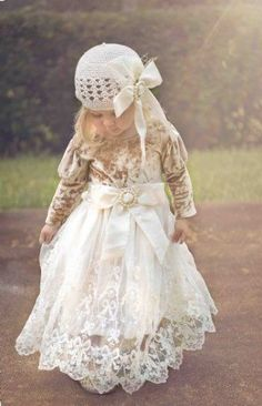 Girls Christmas Dress. Holiday Juliette Lace Gown Matching Hat Available.