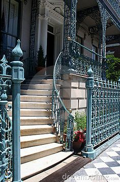 Welcoming arms staircase - designed so a man would not see a ladies ankles as each took the stairs from a different side -Antebellum home, Charleston, SC
