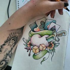🔴🔵🌕  Dotworkday  #oldschooltattoo #oldschool #tattoo #dotwork #dot #drawing #practice #stabilo #colorful