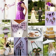 groom in gray and purple with bride