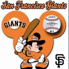 Two of my favs - Mickey and the San Francisco Giants! San Fran Giants, San Francisco Giants Baseball, San Francisco 49ers, Sf Giants Logo, My Giants, 2014 World Series, Disneyland Outfits, Dodgers Fan, Baseball Party