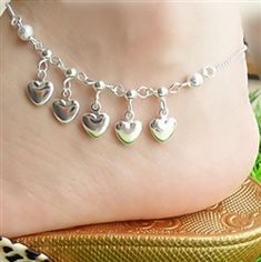 Silver anklet with heart charms Beaded Foot Jewelry, Silver Jewelry, Infinity Charm, Trendy Fashion Jewelry, Silver Anklets, Double Chain, Toe Rings, Silver Stars, Pearl Beads